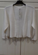 sze12 top quality expensive white 'open front' CARDIGAN /JACKET with 3/4 sleeves