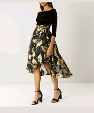 Coast Meneela Jacquard Bardot velvet Style Black & Gold Dress Size 18 new
