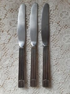 """United Airlines Silverware - 3 INSICO 6 3/4"""" Knives Vintage, Silverplated"""