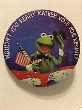 Vintage Jim Hensons Muppets Kermit The Frog Election Pin Mint Condition