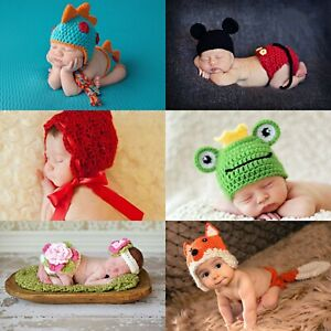 Newborn Baby Photohraphy Props Knitted Crochet Costume Outfit/Beanies 0-6 months