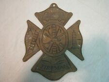 "Vintage Large Cast Iron 8""X11 1/4"" Plaque Fireman Wall Sign Fire Maltese Cross"