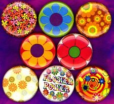 Flower Power 8 NEW buttons pins badges hippie summer of love psychedelic