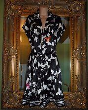 NUOVO GRAZIA SEVERI BLACK Maria Bianco ANNI'50 Rockabilly Farfalla Abito Taglia 18