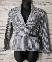 Banana Republic Womens Blazer Sz 8 Blue White Striped Belted Waist 100% Cotton