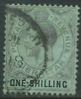 Gibraltar #83(1) 1912 1 1sh black, emerald KING GEORGE V Used CV$26.00