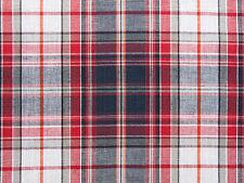 2½ Yards, Plaid Fabric. Madras Cotton. Red, Navy, White, Woven Tartan