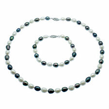 Black & White Pearl Necklace and Bracelet Jewellery Set Oval Freshwater Pearls