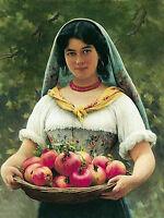 Oil painting eugene de blaas - Figure female portrait woman fruits Hand painted