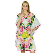 Bimba Women Short Floral Cotton Kaftan Kimono Sleeve Coverup Summer-Wwm