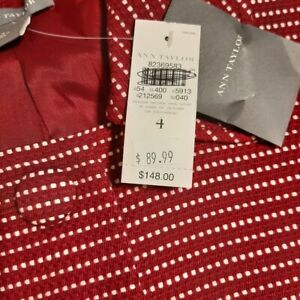 NWT Ann Taylor Women Size 4 Deep Red Blazer  White Specs Covered Button Front