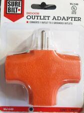 Orange Heavy Duty 3 Way Grounded Triple Outlet Plug Adapter T Shape Splitter TAP