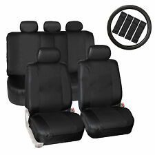 Black Synthetic Leather Car Seat Covers Set 1Steering Wheel Cover 4 Belt Pads