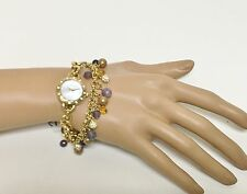 NEW CAROLEE GOLD TONE,CRYSTAL,BEAD BALL,MOP,CHAIN LINK+MOP DIAL BRACELET WATCH