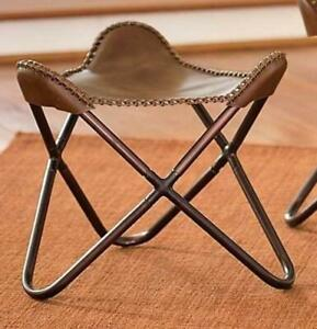 Brown Butterfly Handcrafted Vintage Genuine Complete Stool Soft Goat Leather