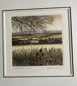 KATHLEEN CADDICK b1937 Framed Limited Edition ETCHING Over the Fields 248/250