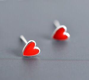 925 Solid Sterling Silver Ear Studs Earrings Red Heart Enamel