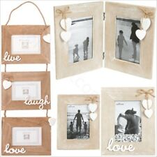 Natural Wood Single Double Triple Photo Picture Frames Shabby Chic Home Decor