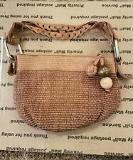women fossil purse leather trim wood balls