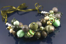 MULTI TONED WOODEN BEADS ON SILKY GREEN RIBBON THONG CHUNKY NECKLACE. WAS £25
