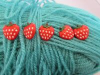 18mm Strawberry Shaped Fruit Buttons on a Shank Available in Packs of 2, 5 or 10