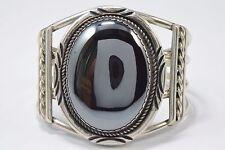 1970's - 1980's Unworn Navajo Handmade Obsidian Indian Tear Cuff .925 Bracelet