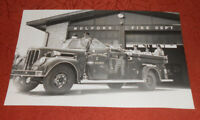1954 Press Photo Mulford Gardens Fire Department Station & Truck