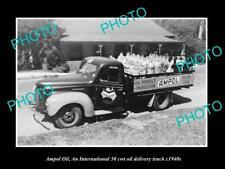OLD POSTCARD SIZE PHOTO OF AMPOL OIL Co INTERNATIONAL HARVESTER TRUCK c1940s