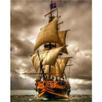 Full Drill Diamond Painting Kit Like Cross Stitch Sailing Ship Boat Sea ZY260F