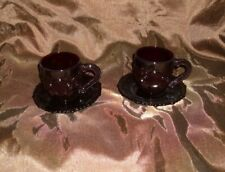 Vintage Avon Cape Cod Collection 2 Cups & 2 Saucers Rudy Glass