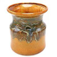 """Studio Pottery Utensil Holder Vase Green Drip Glaze on Light Brown 7"""" Signed"""