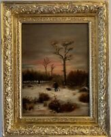 Antique 19 century original oil painting on canvas, Winter landscape, framed