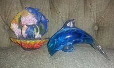 Dolphin collectibles/figurines- Glass Dolphin/Small Water Globe with Ocean