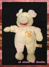 Doudou Peluche Cochon Rose 2 Tons Morbidelli De.Car Broderie Soleil Orange