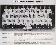 Rare 1962 TEAM PICTURE Chicago Cubs 8x10 Banks Santo Williams Brock O'Neil Hubbs