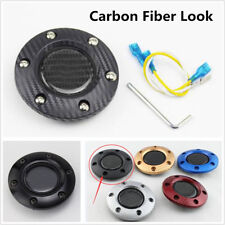 Carbon Fiber Surface Racing Car Steering Wheel Horn Button + Cover Kit Universal