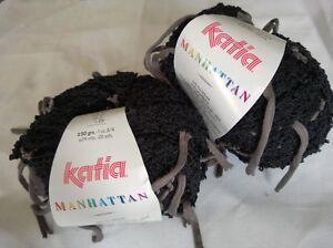 Knitting Yarn ~ Katia Manhattan ~ boucle effect in black with dk taupe tassels