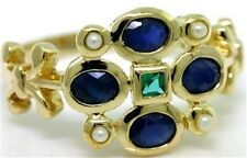 Sapphire Emerald Pearl 9ct Solid Gold Antique Style Ring Sz N/7 30 Day Returns