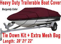 20' 21' 22' V-Hull Fish/Ski Trailerable Boat Cover Color Burgundy B1787R