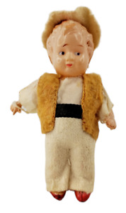 """Antique Celluloid Farmer? Boy Doll 3"""" Tall with Clothes Made in Japan Vintage"""