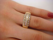 14K YELLOW GOLD 1 CT T.W. BAGUETTE & ROUND DIAMONDS LADIES BAND-RING, SIZE 10.5