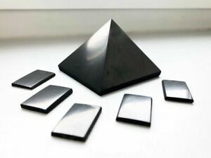 Shungite Pyramid 50 mm + Shungite Plate for Phone Sticker (5 pcs) EMF Protection