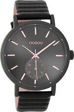 OOZOO Damen Uhr C9189 Schwarz/Rosé  - Lederband -  42mm - WINTER 2017