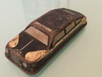 Vintage Tin Litho Taxi Black - Made in England  - Wooden Wheels