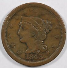 1843 1c Braided Hair Large Cent Unslabbed