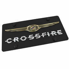 Chrysler Wing Logo + Crossfire Name On Carbon Stainless Steel License Plate