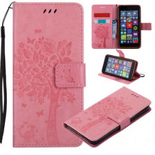 Pink Cats and trees Patterned PU Wallet Flip Case Cover For Various Phones