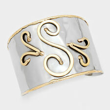 "Monogram Cuff Bracelet Initial Bangle 2 TONE SILVER 2"" Wide Letter S Personal"