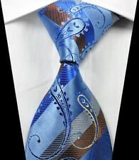 New Classic Paisley Blue Brown Silver JACQUARD WOVEN 100% Silk Men's Tie Necktie