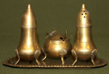 Vintage brass set salt / pepper shakers, footed bowl and tray